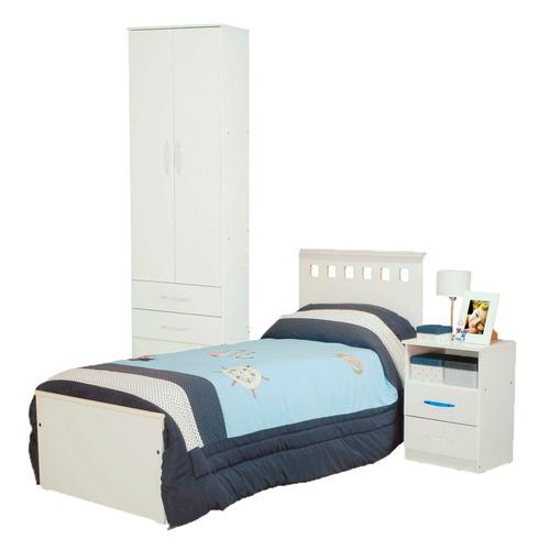 combo infantil cama 1p + placard 2p + mesa mesita de luz bl