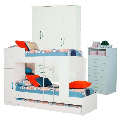 combo infantil cama cucheta triple chifonier placard 4p bl