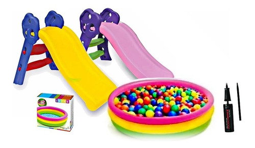 combo infantil rodadero + piscina+100 pelotas+inflador nuevo