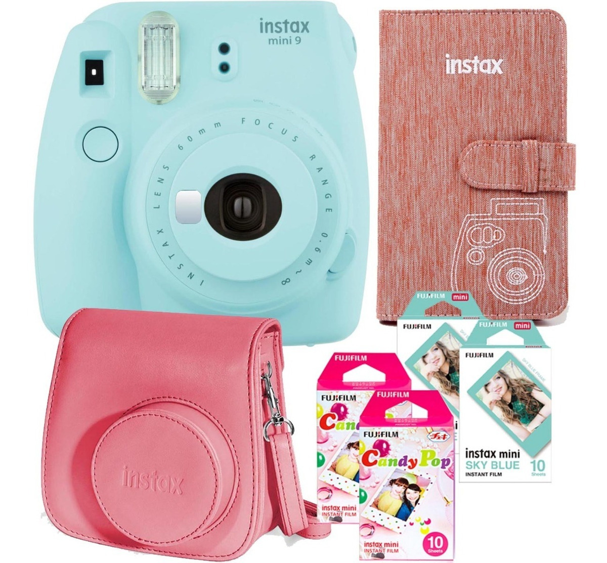 Fujifilm Azul 108 Pocket billetera álbum de fotos para Cámara Fuji Instax Mini 9 impresión