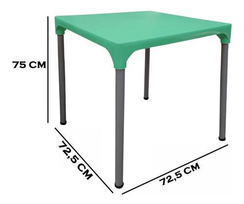 combo jardín: 2 sillas plásticas apilables diseño malba y 1 mesa lupe - patas de caño pintadas en color aluminio - rossi