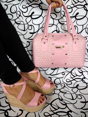 combo juego duo espectacular bolso zapato rosa envío gratis