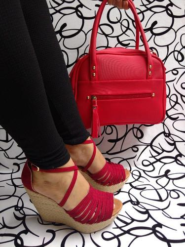 combo juego en rojo elegante cartera y sandalia envio gratis