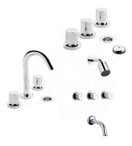 combo juego grifería baño fv radal lavatorio ducha bidet