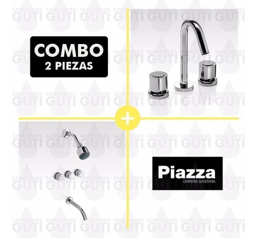combo juego grifería baño piazza optima lavatorio ducha emb