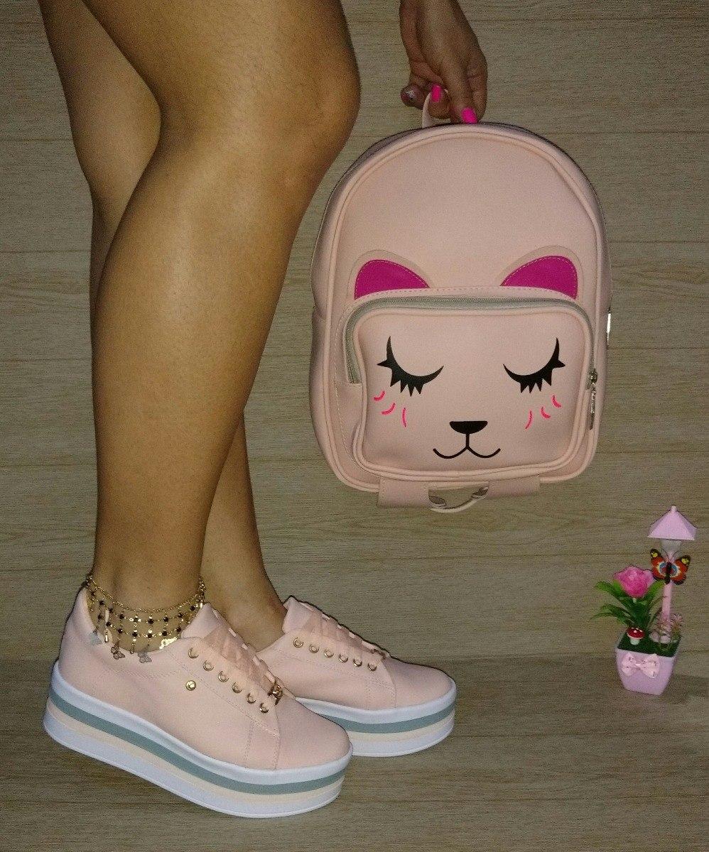 zapatillas de deporte para baratas marca popular último diseño Combo Juvenil Bolso Gato Color Salmon Calzado 2pisos De Moda
