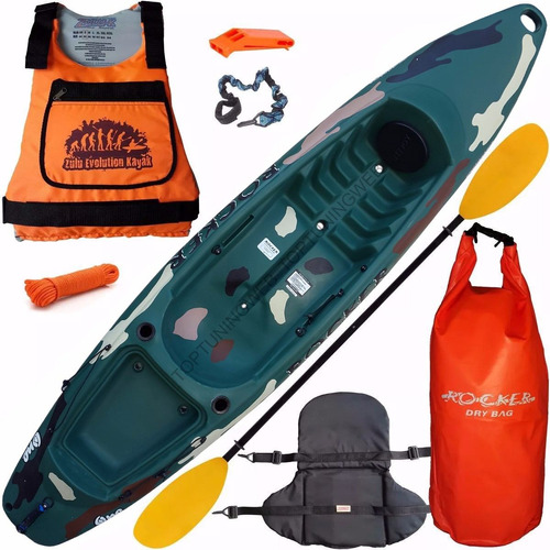 combo kayak rocker one camuflado chaleco bolso asiento o15