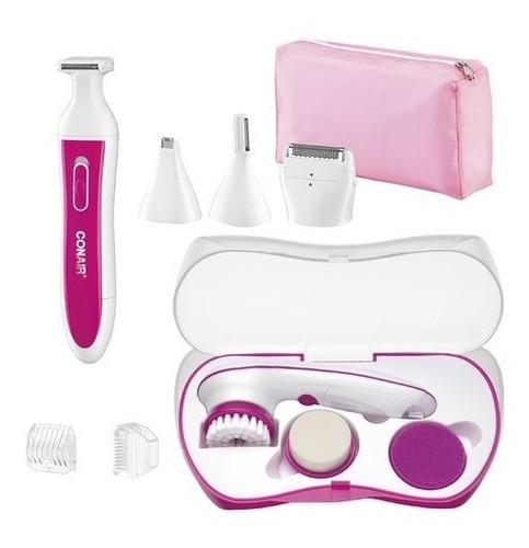 combo kit de limpieza facial y recortadora satiny conair