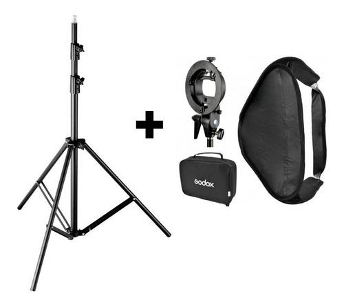combo kit fotografia godox tripode 2 mts modelo 304+soft box 40x40+rotula stype montura bowens