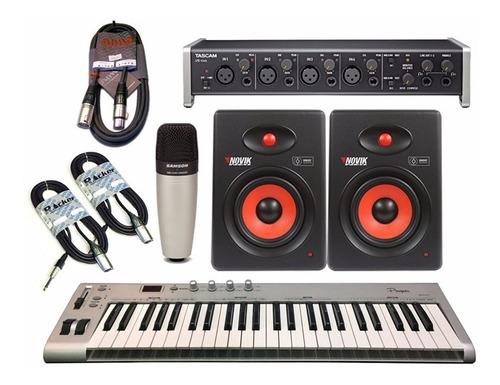 combo kit grabacion tascam + mic + monitores + controlador