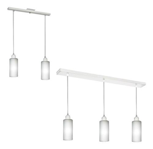 combo lampara colgante blanco acero inoxidable 2 y 3 luces