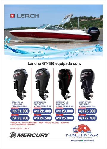 combo lancha lerch gt 180 full mercury 115 hp 4t  nueva