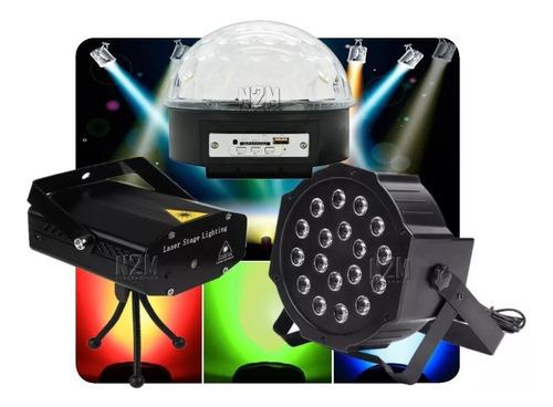 combo luces dj led movil bola + proton + laser lluvia
