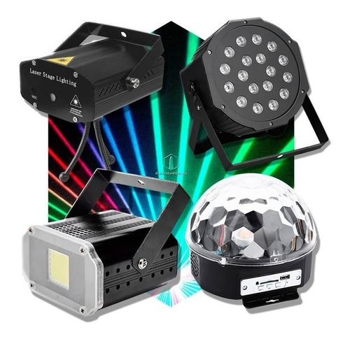 combo luces led dj bola + proton 18 + laser lluvia + flash