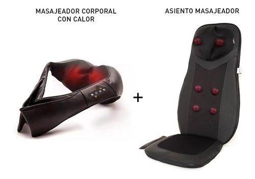 combo luxury! masajeador cervical+asiento espalda completo
