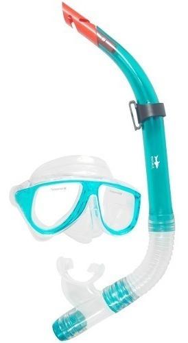 combo mascara y snorkel aqua - escualo modelo coral