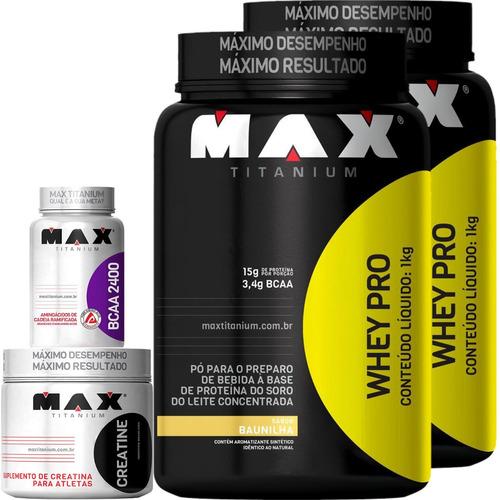 combo max titanium 2xwhey pro(1kg)+bcaa(60c)+creatina(150g)