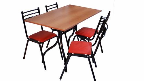 combo mesa 120 x 80 cm+ 4 sillas de caño tapizadas