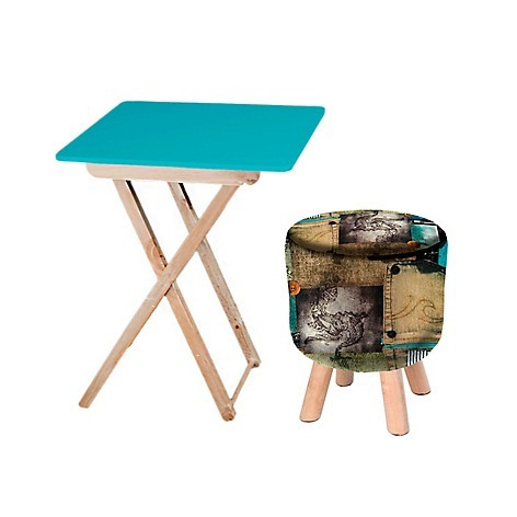 combo mesa auxiliar plegable azul + puff jean