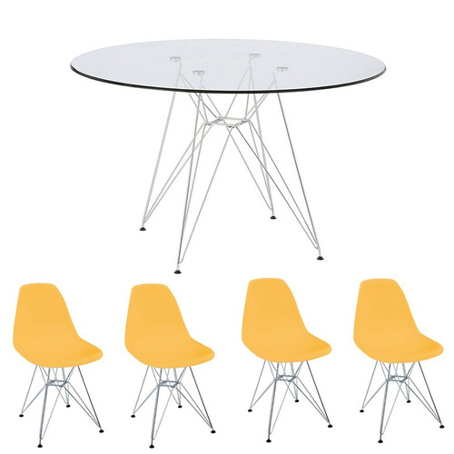 combo mesa de vidrio 90 cm + 4 sillas eames eiffel mostaza