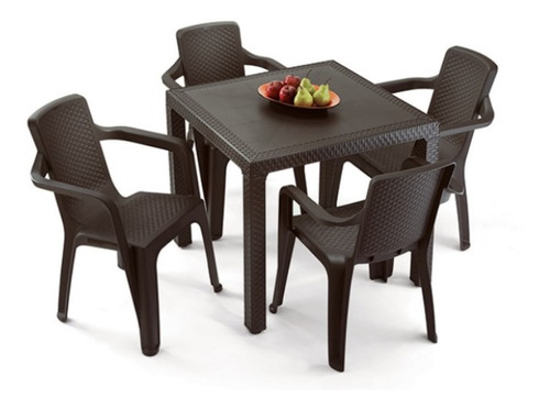 combo mesa eterna + 4 sillas eterna con brazos / rimax