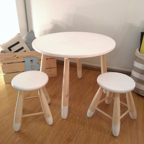 combo mesa mesita banquitos pintados niños infantil
