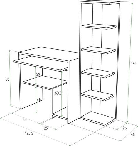 combo mesa pc escritorio notebook +biblioteca diseño moderno