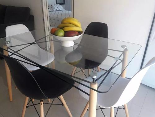 combo mesa rectangular vidrio + 4 sillas eames 120x80 cuotas