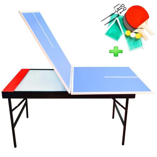 combo mesa tejo aire metal madera + tapa ping pong plegable
