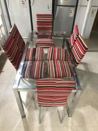 combo mesa vidrio venecia 1,5 + 6 sillas london sidal exhi