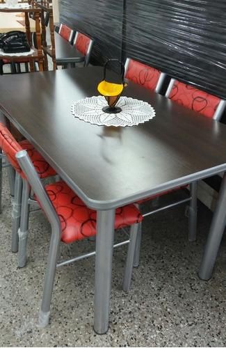 combo mesa y 6 sillas aldana  cocina comedor caño reforzado