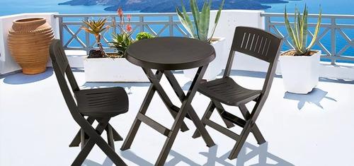 combo mesa y dos sillas plegables rimax color wengue
