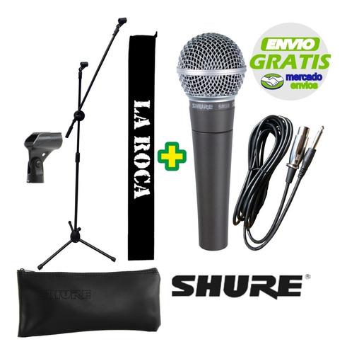 combo microfono shure sm58 + pie + cable + pipeta + funda - cuotas