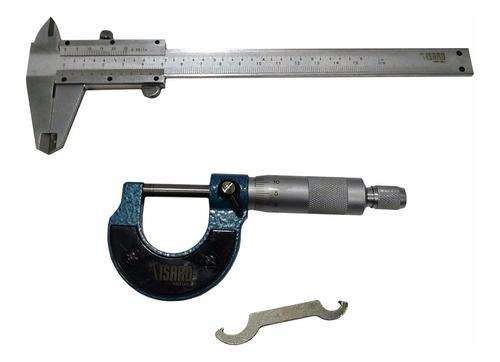 combo micrometro 0 25 mm + calibre mecanico 0 150 mm en acer