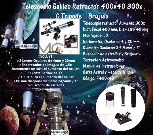 combo microscopio proyector + telescopio 400x40 300x galileo