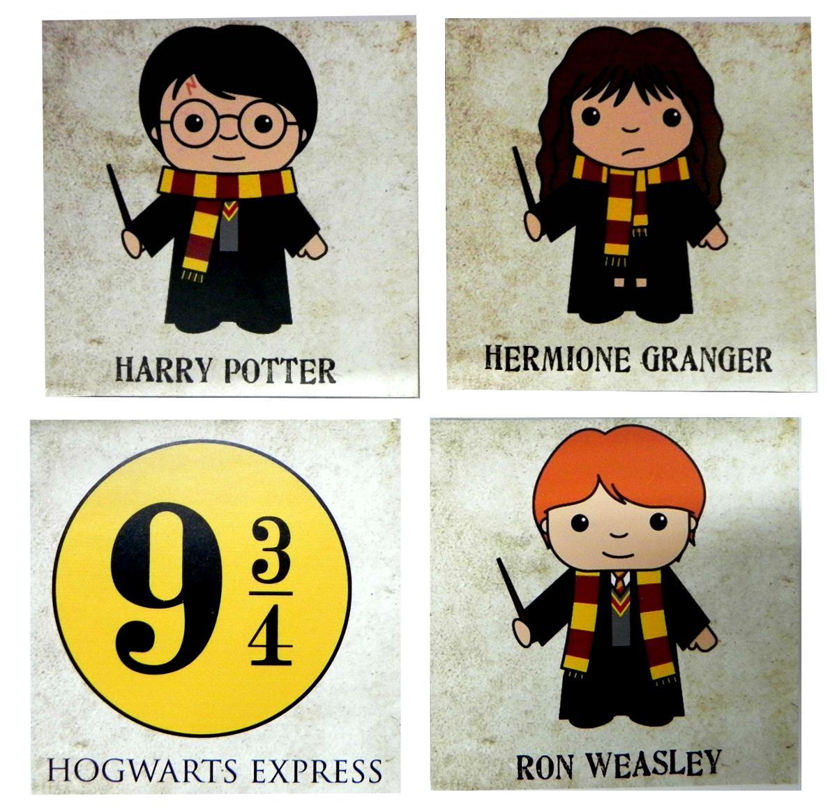 Combo Mini Quadros Harry Potter Rony Hermione Hogwarts 9 3