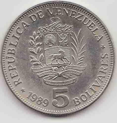 combo monedas de 5 bolivares de 2 y un bolivar de 1989
