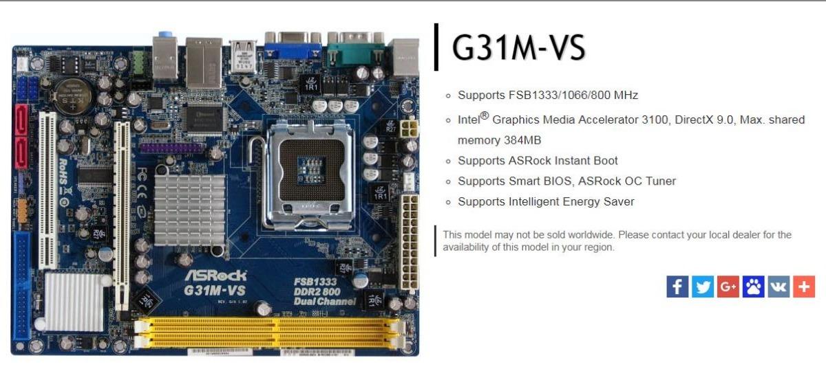 Asrock G31M-VS Driver Windows XP