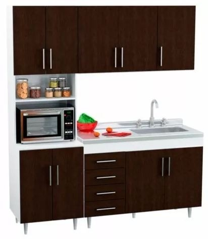 Combo Muebles Cocina Completa Modernos 140 Cm Blanco Wengue ...