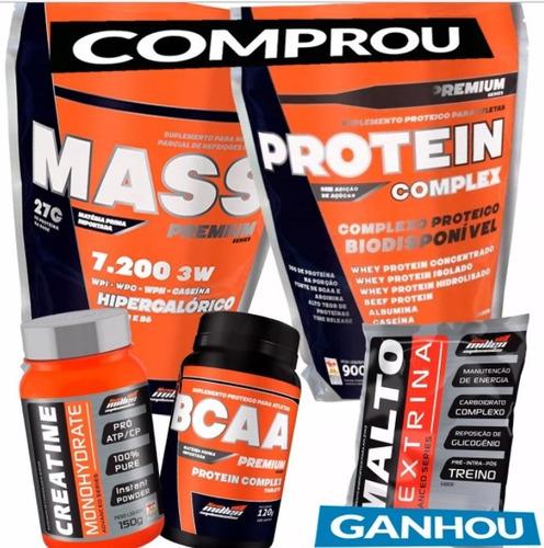 combo muscular whey protein complex+mass 1,5kg+bcaa+creatina