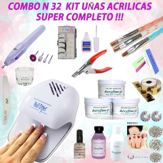 Combo N32 Kit Uñas Acrilicas Polimero Monomero Torno Tips