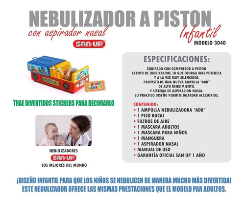 combo nebulizador a piston san up 3040 + chupete mundomanias