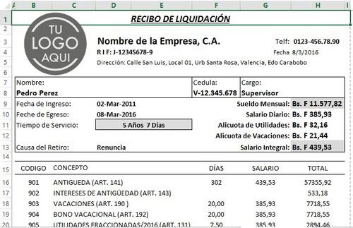 combo nomina calculos salariales rrhh pymes lottt excel 2017