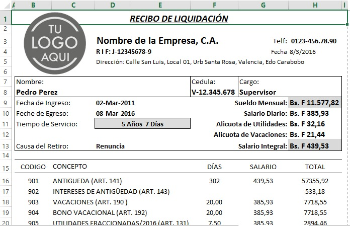 Combo nomina calculos salariales rrhh pymes lottt excel Plantilla nomina