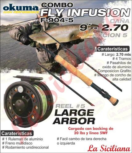 combo okuma fly mosca infusion 904-5 caña reel