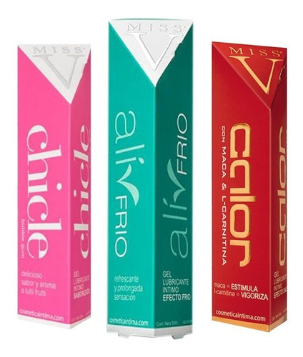 combo pack x 3 gel lubricante intimo miss v a elección