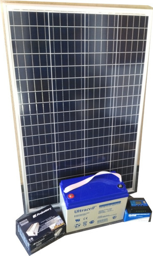 combo panel solar 100w batería sellada 100ah regu e inversor
