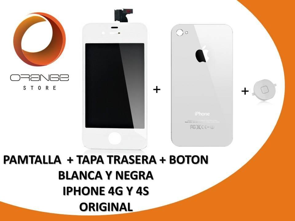 ff654fcc1f6 Combo Pantalla + Tapa Trasera + Boton Inicio iPhone 4 4g 4s - Bs ...
