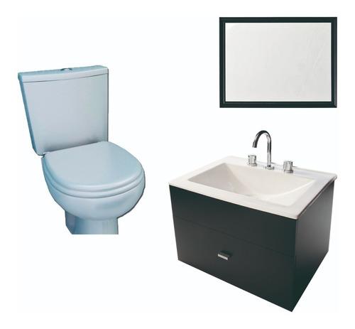 combo para baño basico espejo inodoro pringles vanitory 60cm