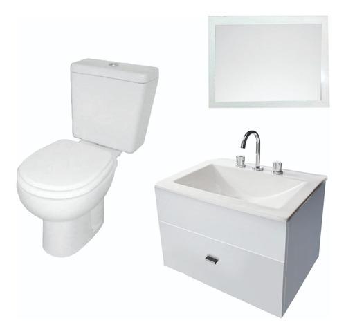 combo para baño simple inodoro pringles vanitory 60cm espejo